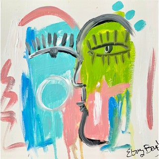 Contemporary Abstract Face Painting by Ebony Boyd For Sale