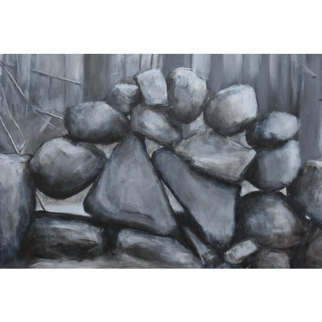 "Stephen Remick ""Sculptural Stone Wall"", Contemporary Large Painting by Stephen Remick For Sale - Image 4 of 13"