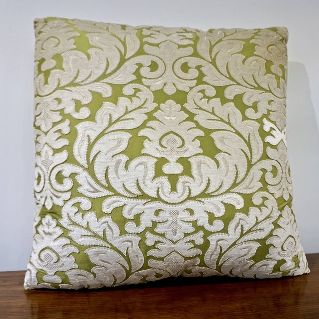 Silk Contemporary French Green and Ivory White Damask Velvet Throw Pillows - a Pair For Sale - Image 7 of 11