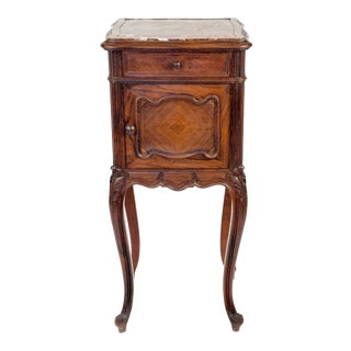 Queen Ann Style Dark Walnut and Marble Marquetry Side Table For Sale