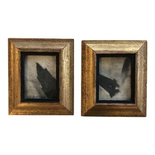 Pair Miniature Abstract Vintage Pastels Framed For Sale