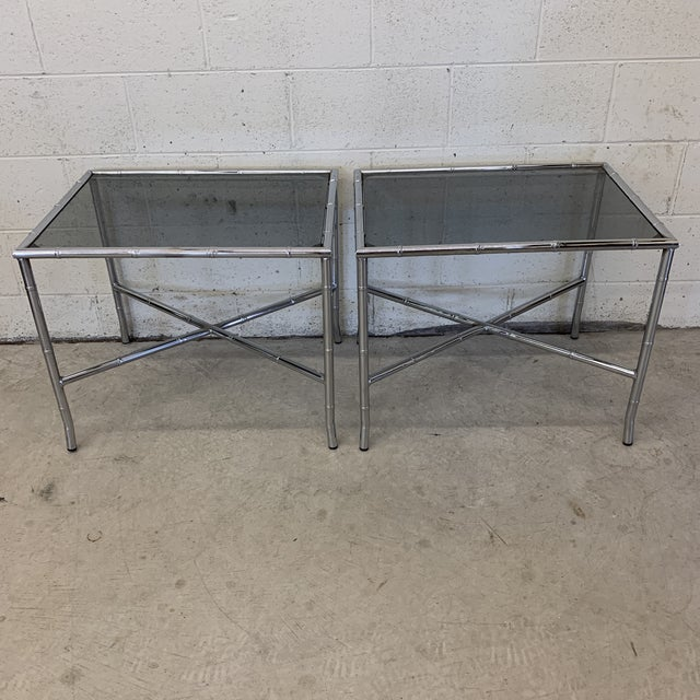 70s Faux Bamboo Chrome and Smoke Glass End Tables - a Pair For Sale - Image 13 of 13