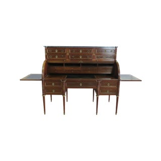 Maison Jansen Directoire Style Marble Top Cylinder Desk For Sale