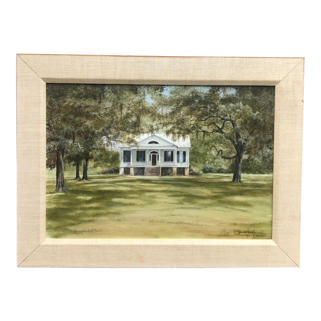 Douglas Grier Southern American Architectural Landscape Painting, Framed For Sale
