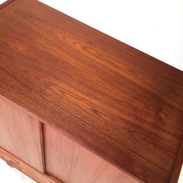 Vintage Teak Cabinet With Sliding Doors For Sale - Image 4 of 6