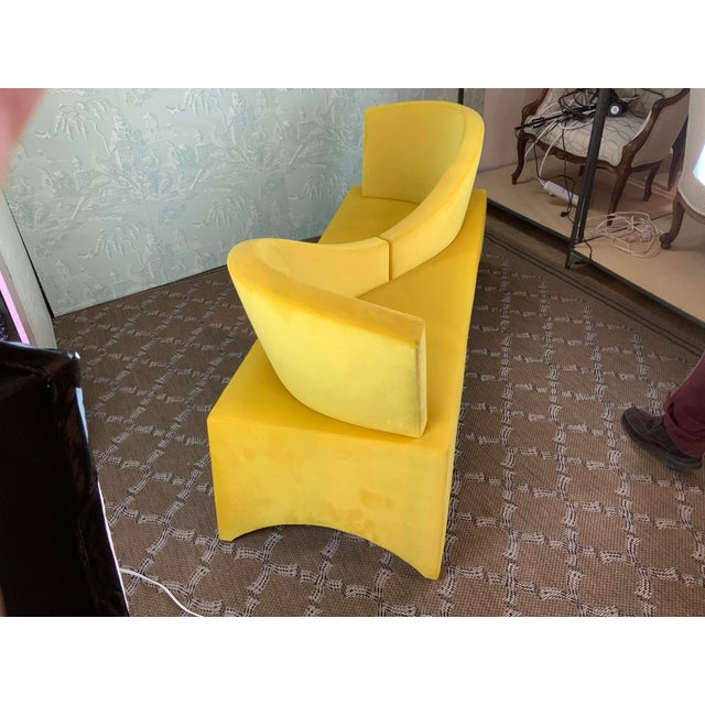 Contemporary 1970s Vintage Mid Century Modern Yellow Velvet Loveseat For Sale - Image 3 of 6