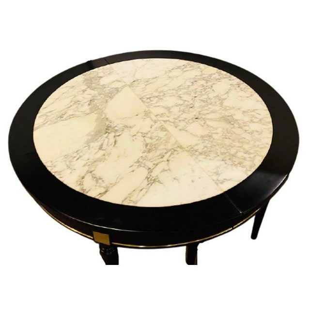 Hollywood Regency Jansen Style Ebony Center Dining Table Marble Top French For Sale - Image 12 of 12