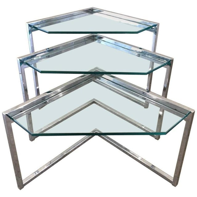 Mid-Century Modern Milo Baughman Geometric Chrome Nesting Tables For Sale - Image 3 of 3