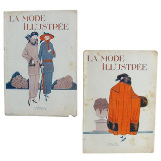 French Art Deco Fashion Periodicals C.1920, Pair For Sale