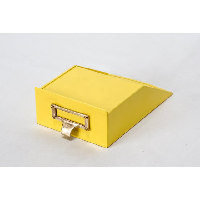 Cole Steel Tanker Drawer Insert Repurposed as Desktop Organizer, Refinished in Yellow For Sale - Image 4 of 4