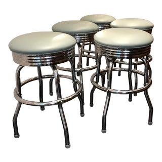 Vintage Upholstered Swiveling Counter Stools - Set of 5