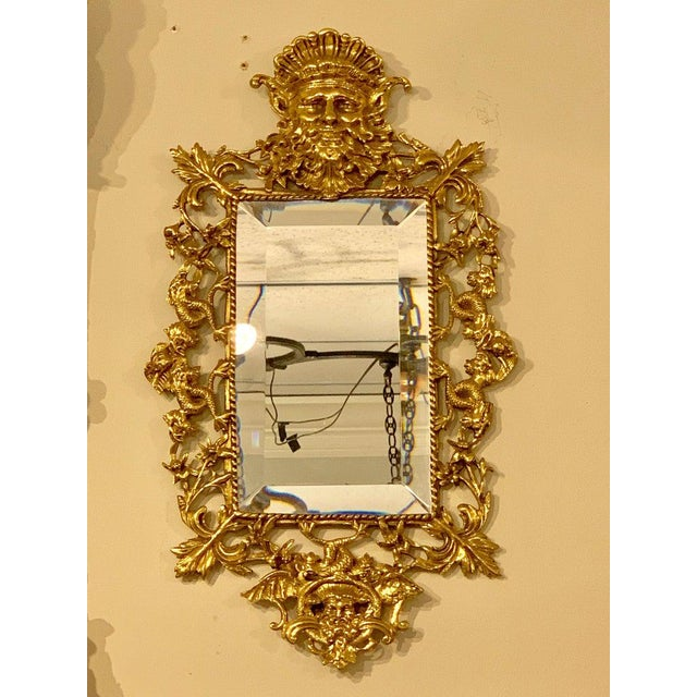 Metal Pair of Napoleon III Brass Neptune Motif Mirrors For Sale - Image 7 of 10