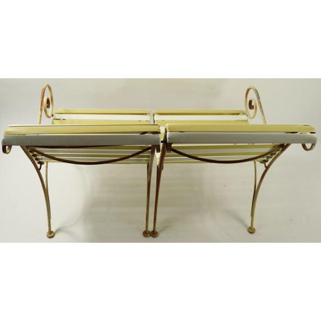 Woodard Scroll Arm Plastic Strap Settee For Sale - Image 11 of 12