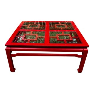 Mid Century Coffee Table Chinoiserie Asian Glass Top For Sale