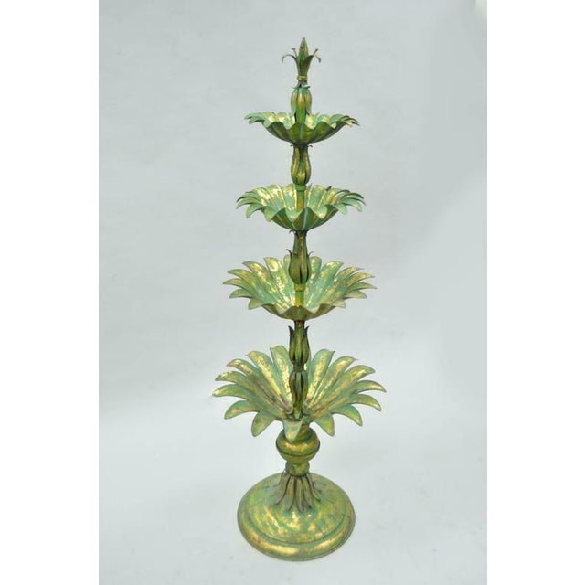 Vintage Mid-Century Italian Hollywood Regency Style Gold Tole Metal Palm Leaf Statue For Sale - Image 10 of 11