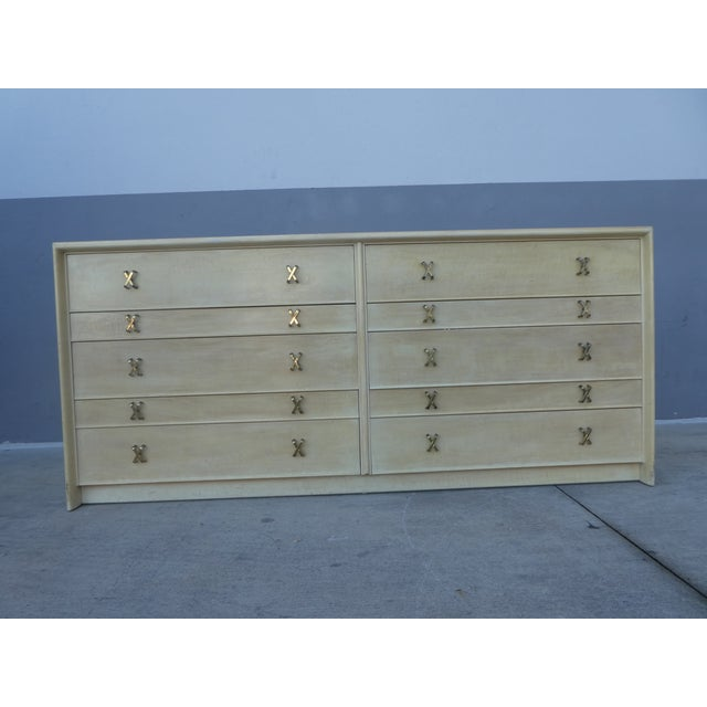 Johnson Furniture Paul Frankl long chest/credenza sold as found in original condition without damage showing normal signs...