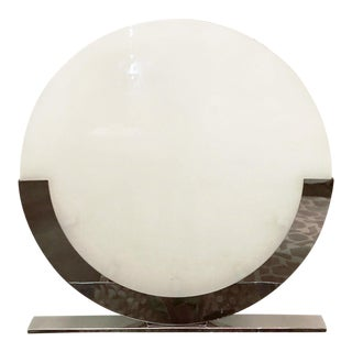Vintage Italian Round Frosted Glass on a Chrome Base Oversized Table Lamps - 3 Available For Sale