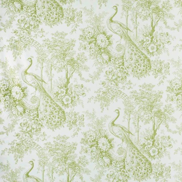Illustration Suzanne Tucker Home Peacock Toile Print Fabric in Pistachio For Sale - Image 3 of 3