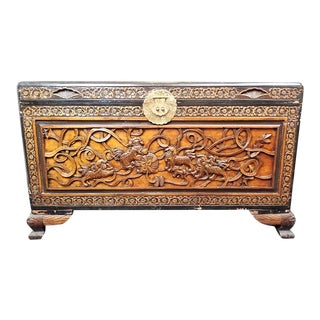 20th Century Chinese Camphor Chest With Carved Foo Dogs/Foo Lions