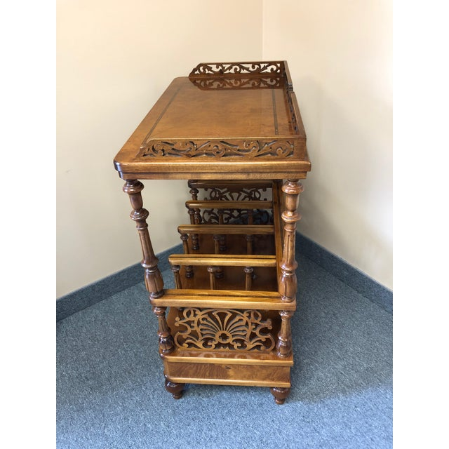 Italian Mobili Burl Canterbury and Console With Carved Fretwork For Sale - Image 3 of 12