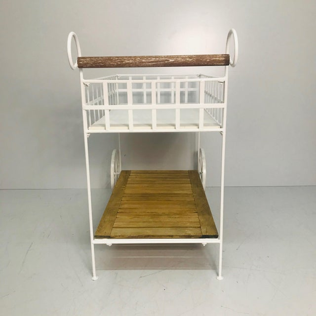Vintage White Metal With Teak & Stone Bar Cart For Sale - Image 4 of 8