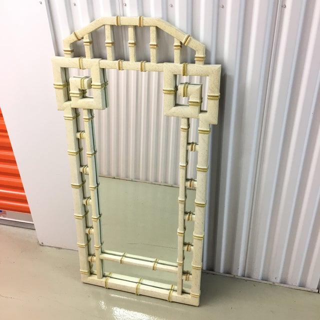 1970s Vintage LaBarge Style White and Gold Greek Key Faux Bamboo Mirror For Sale - Image 5 of 7