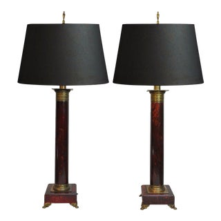 Vintage French Neoclassical Red Faux Marble Wood & Brass Column Table Lamps - a Pair