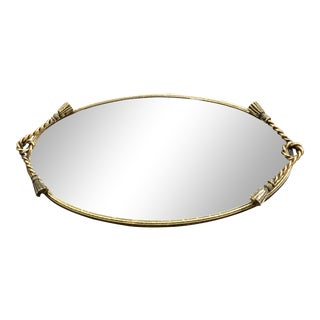 Gilt Tassel Italian Modern Mirrored Tray