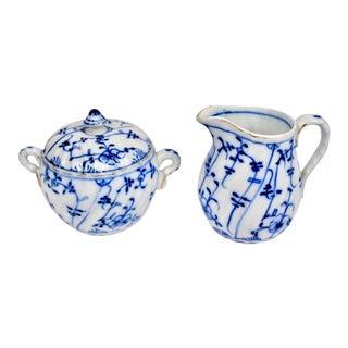 Antique Blue Onion Sugar and Creamer Set by Tettau Porcelain - 2 Piece Set For Sale