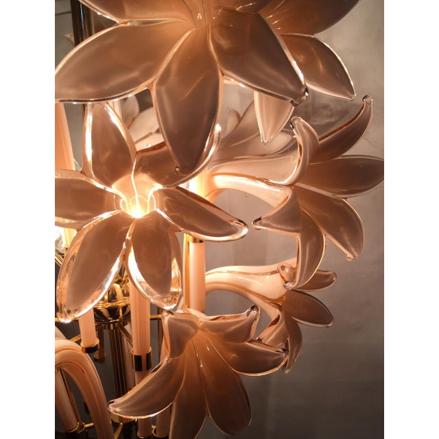 Vintage Pink Lily Murano Chandelier - Image 7 of 10