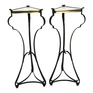Vintage Mid Century Palladio Wrought Iron and Brass Marble Top Pedestals- A Pair For Sale
