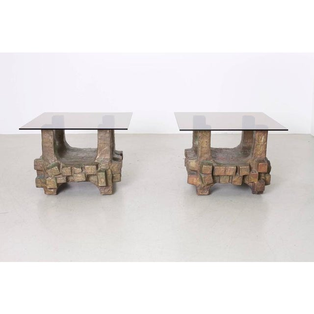 Bronze Unique Pair of Brutalist Bronze Side Tables in the Manner of Paul Evans For Sale - Image 7 of 7