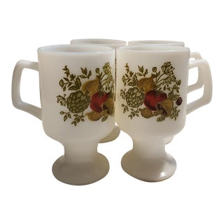 Vintage Corning's Spice of Life Pattern Footed Milk Glass Mugs - Set of 4 For Sale