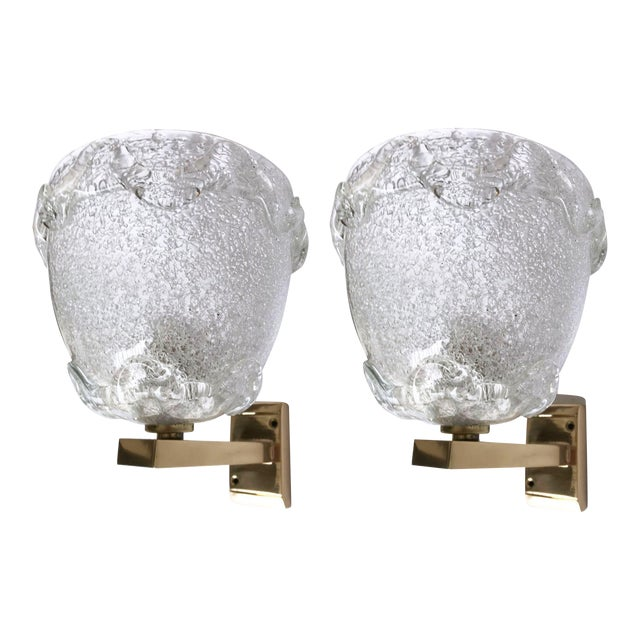 White Italian Barovier Sconces - A Pair For Sale