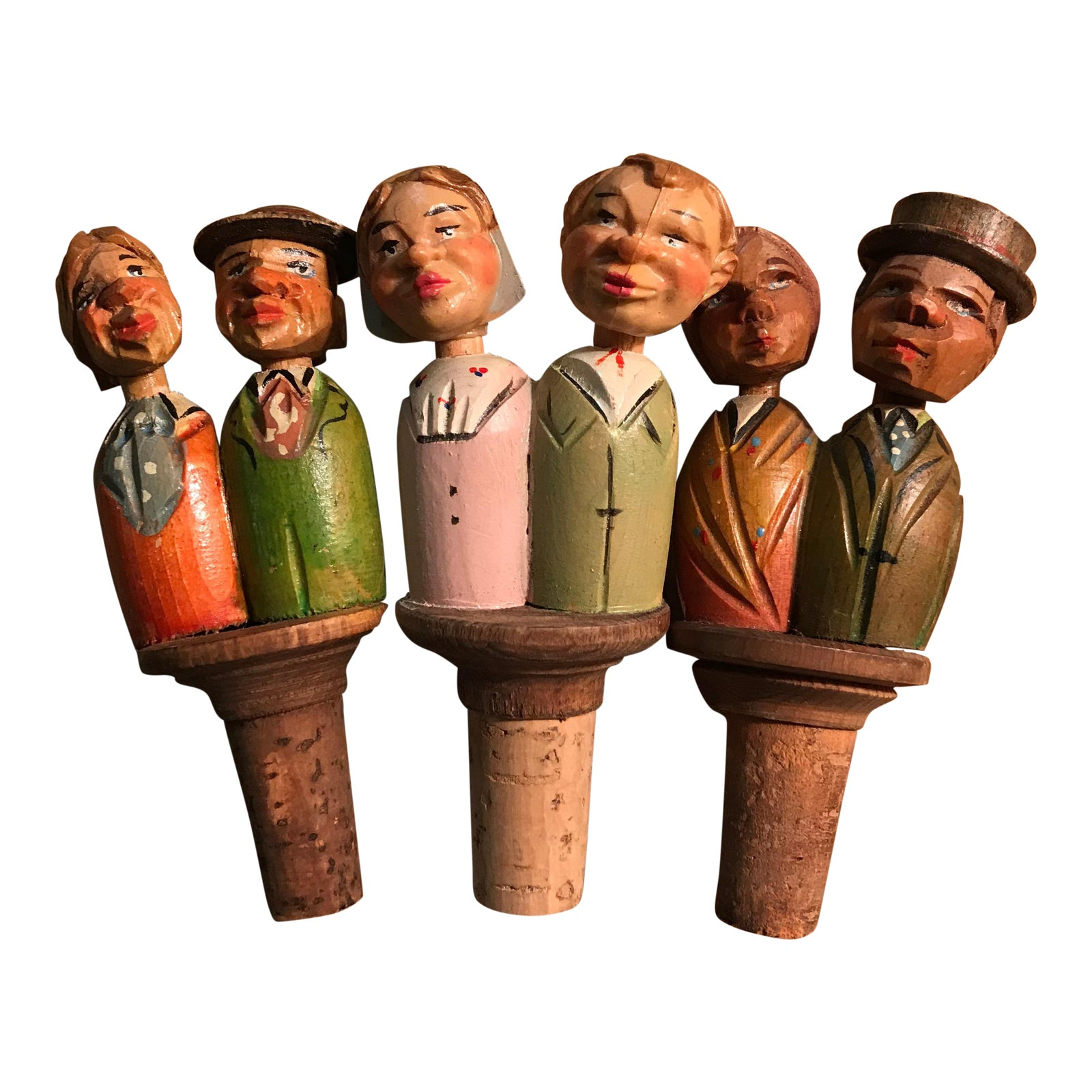 Anri Italian Wood Hand Carved Vintage Bottle Stoppers
