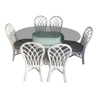 Ficks Reed White Lacquer Dining Set For Sale
