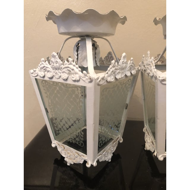 White Vintage White Metal Outdoor Lights With Etched Glass Panels - a Pair For Sale - Image 8 of 10