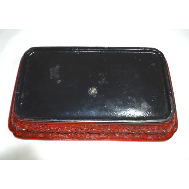 Lacquer 1970s Asian Red Lacquer Cinnabar Tray W/ Carved Dragons For Sale - Image 7 of 8
