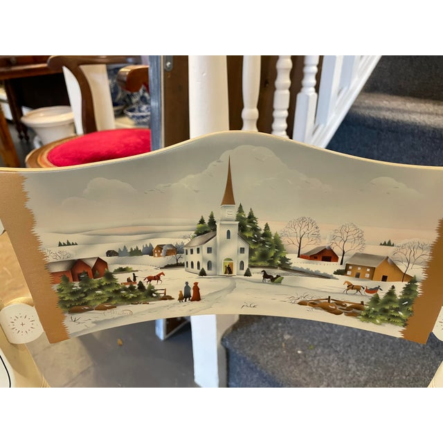 Traditional Vintage Limited Edition Hancock Christmas Rush Seat Side Chair For Sale - Image 3 of 7