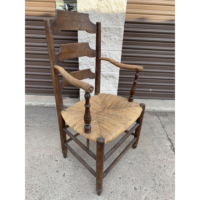 Early 19th Century French Ash Wood Rush Seat Armchair For Sale - Image 10 of 11
