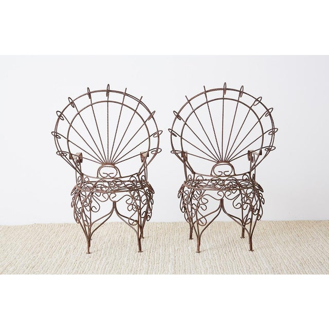 Pair of Salterini Iron Peacock Salesman Sample Chairs For Sale - Image 12 of 13