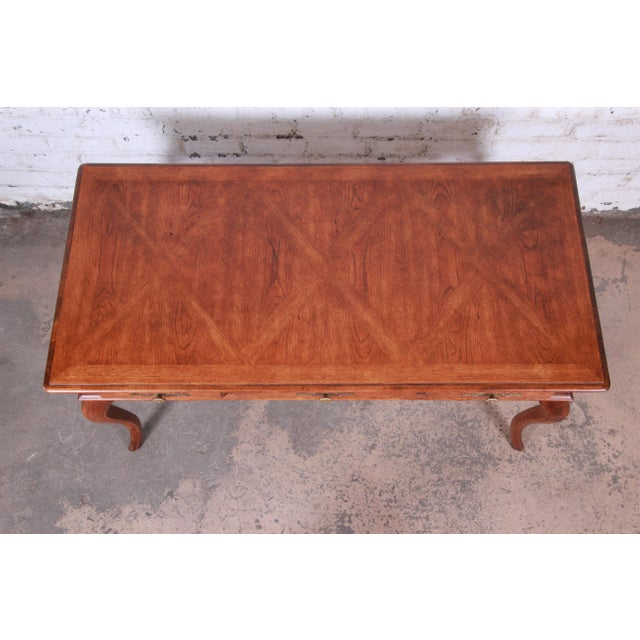 Hickory Manufacturing Company Vintage French Provincial Louis XV Style Oak Writing Desk by Hickory For Sale - Image 4 of 13