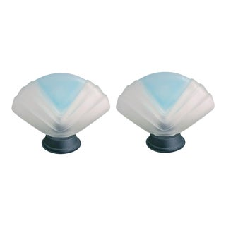 1940s Art Deco Frosted Murano Glass Table Lamps - a Pair For Sale