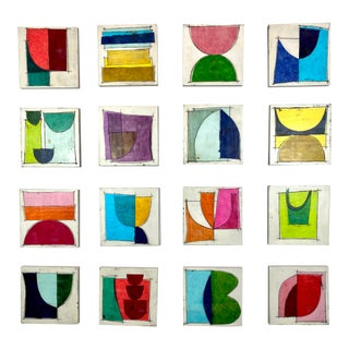 """Tchin-Tchin"" Encaustic Collage Installation by Gina Cochran - 16 Panels For Sale"