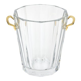 Baccarat Signed Crystal and Brass Ice Bucket/Champagne Cooler