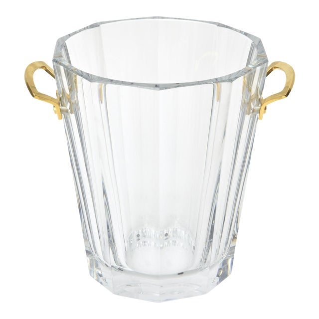 Baccarat Signed Crystal and Brass Ice Bucket/Champagne Cooler For Sale