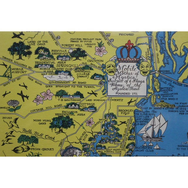 Vintage Map 'On Mobile Bay' by Marion Ackes - Image 3 of 6