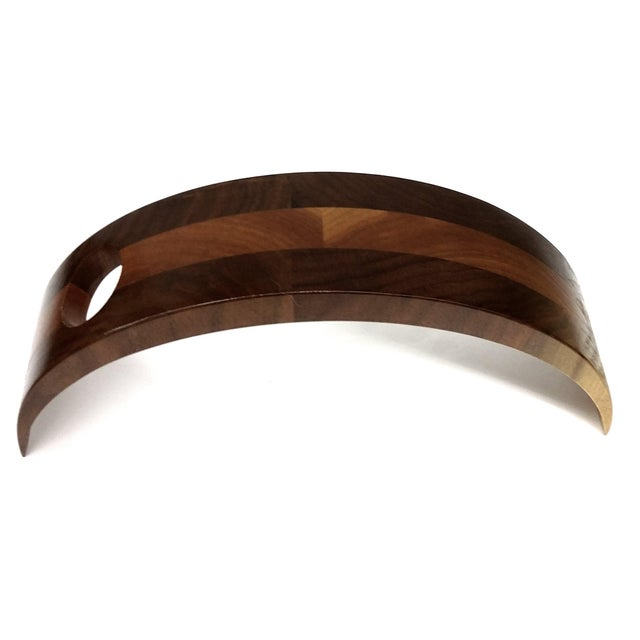 Curved Wood Floating Wine Bottle Holder For Sale In Boston - Image 6 of 9
