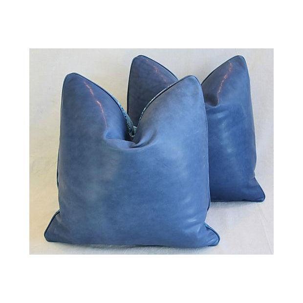 "Ralph Lauren Royal Blue Velvet Tapestry & Edelman Leather Pillows 20"" Square - Pair For Sale - Image 9 of 12"