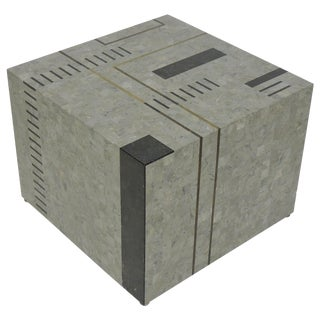 "Oggetti Modernist Tessellated Stone ""Mondrian"" Geometric Cube End Side Table For Sale"